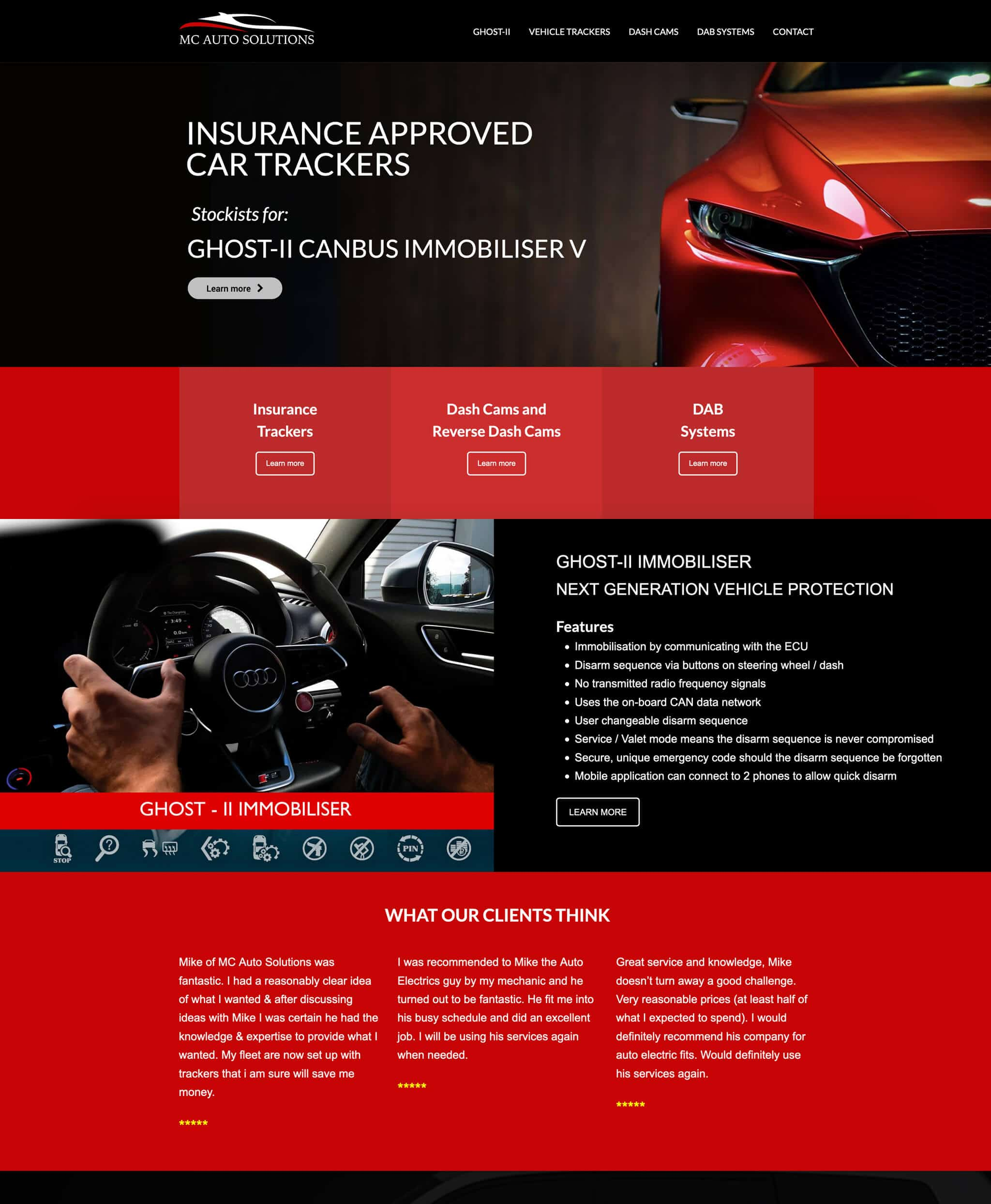 black and red website design for an insurance car tracker