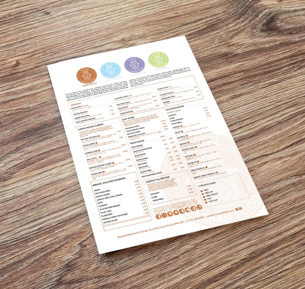 menu design wirral