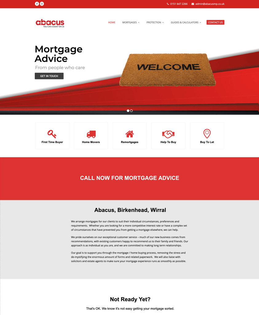 Website Design Wirral - the home page design of a mortgage protection company