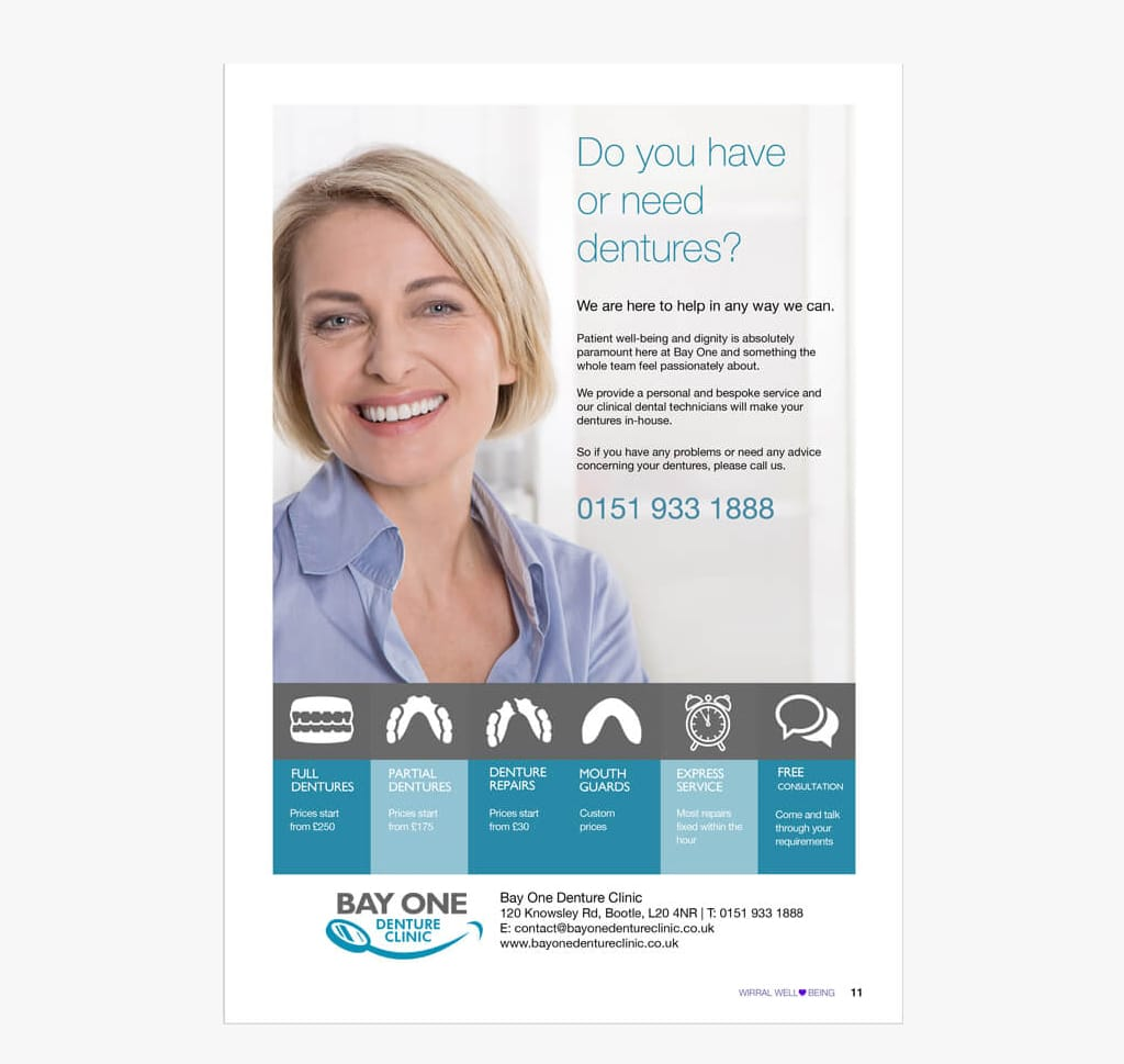 a magazine advert design for a denture clinic