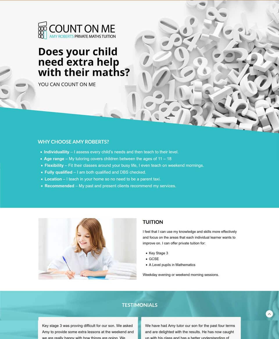Website design for a Maths Tutor