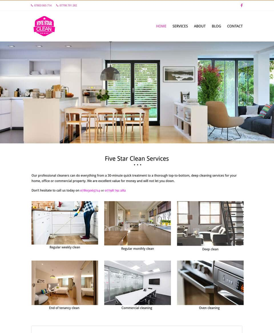 Website design for domestic and commercial cleaners