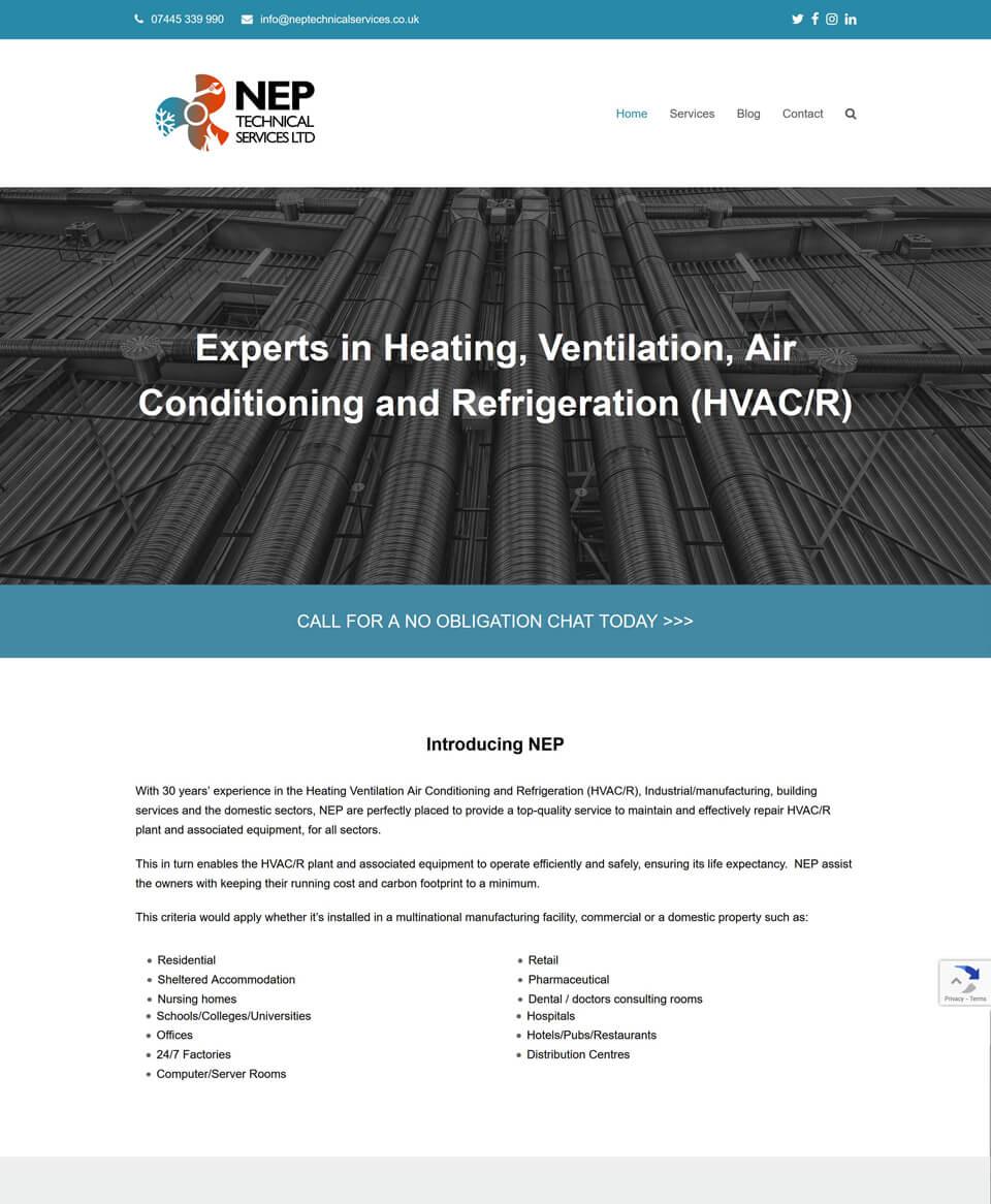 Website design for HVAC/R company