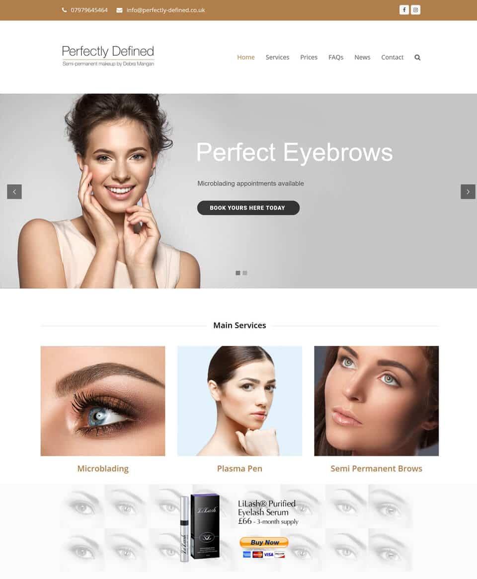 Website design for a Semi Permanent Makeup Artist
