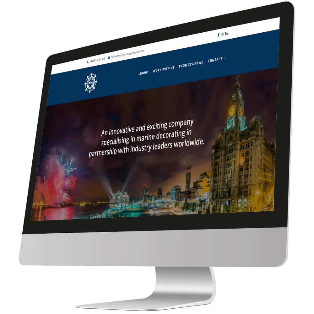 front page of mersey marine interiors website