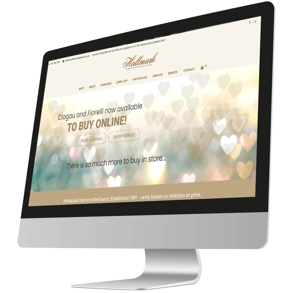 front page of hallmark jewellers website